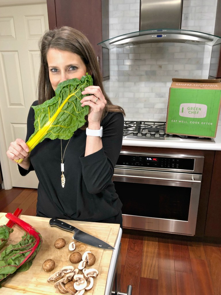 Jenny with swiss chard from Green Chef