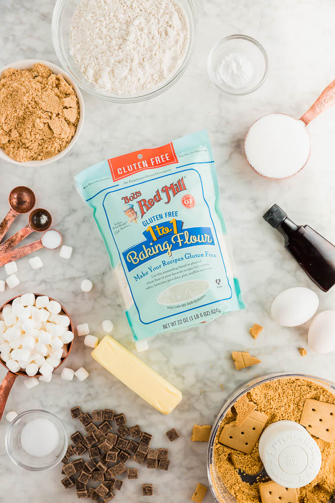 Bob's red Mill Gluten free flour and all the ingredients needed to make gluten-free s'mores cookies