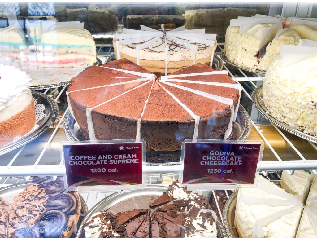 Picture of GF cheesecakes in display case
