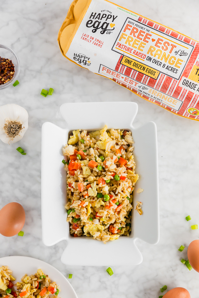 Serving platter with gluten-free egg fried rice