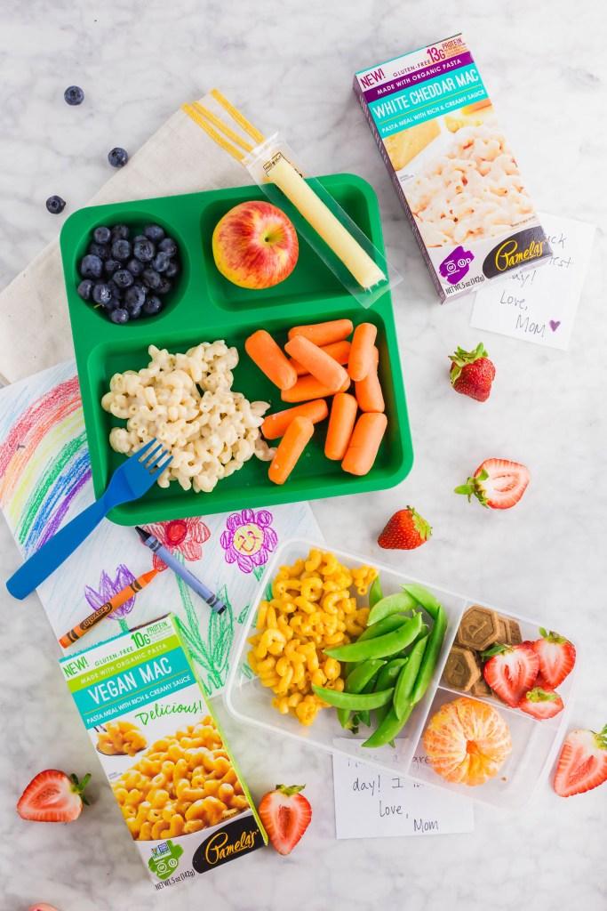 lunch box with Pamela's gluten-free mac n cheese