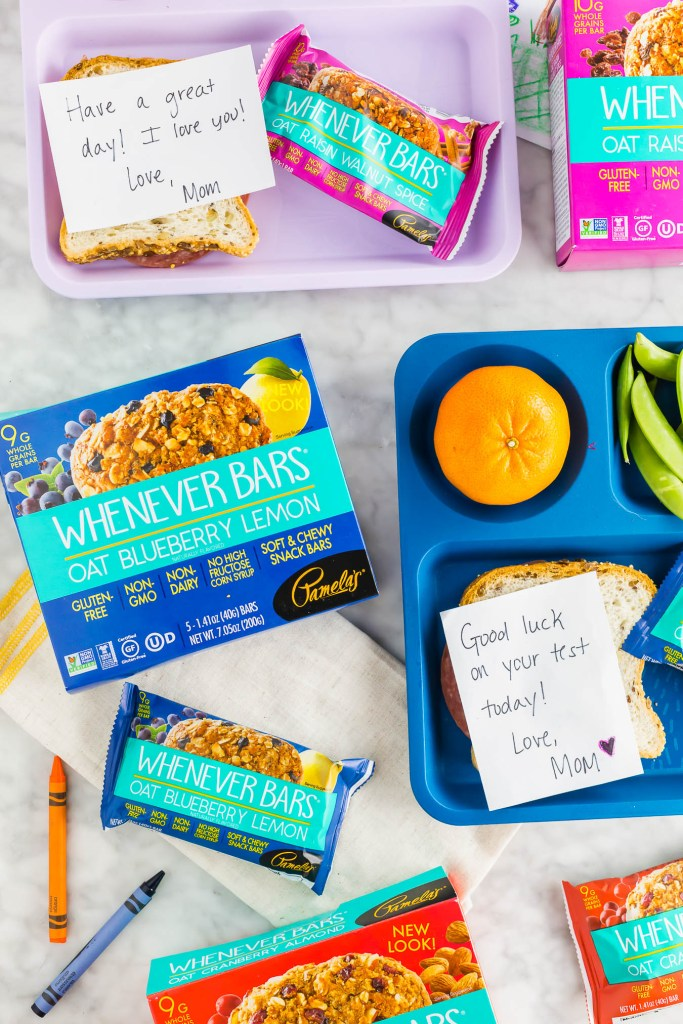 back to school lunch box with whenever bars from pamela's