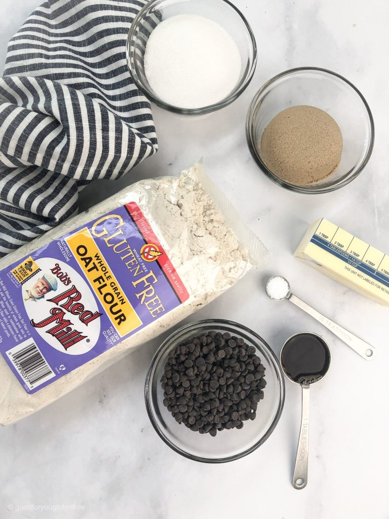 picture of ingredients to be used in gluten-free chocolate chip cookie dough balls including bob's red mill gluten-free oat flour