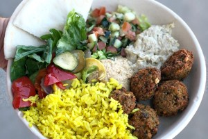 What's Gluten-Free at Garbanzo header includes a platter including falafel and other gluten-free items from Garbanzo restaurant