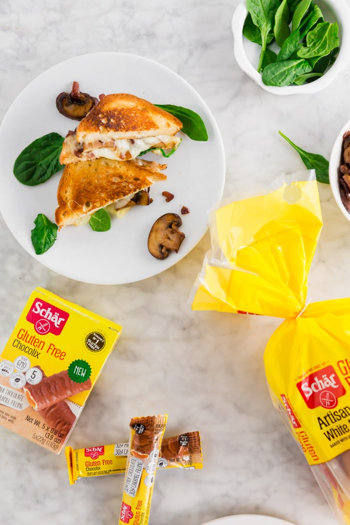 Picture of grilled cheese sandwich with Schar bread and Chocolix bars in picture - overhead shot
