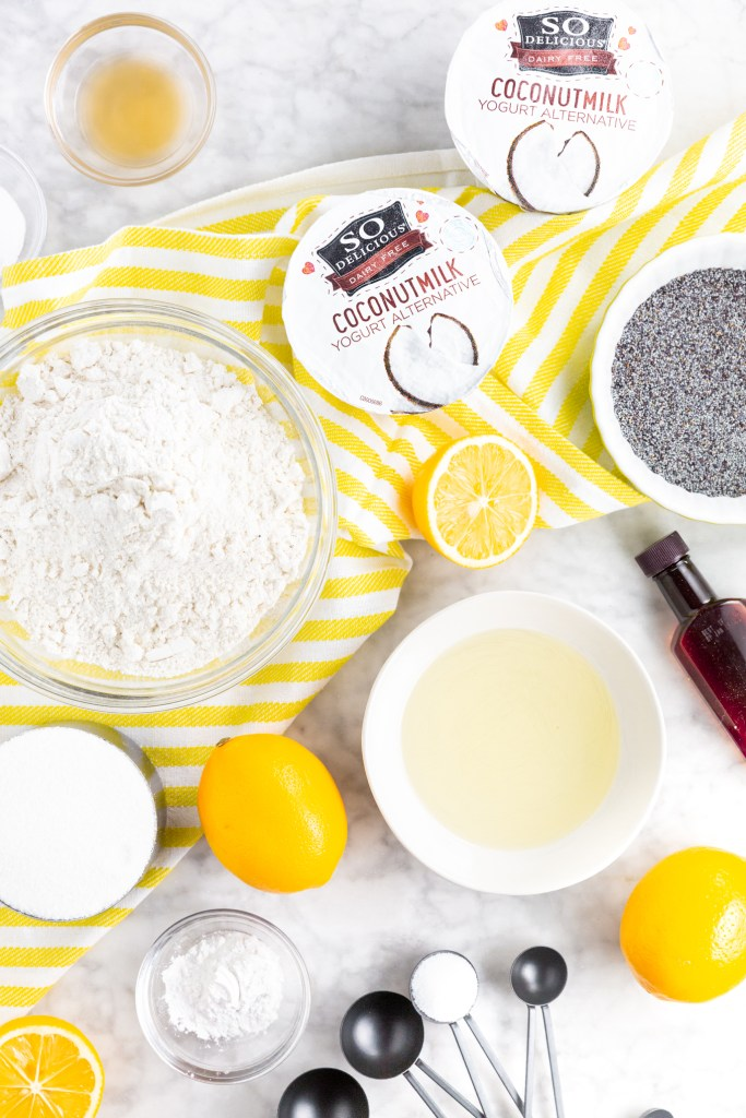 Picture of all the ingredients needed to make vegan, gluten-free lemon poppy seed muffins