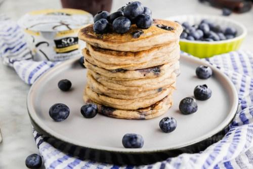 Gluten-Free Blueberry Yogurt Pancakes - header