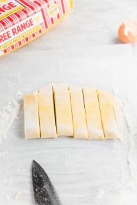 Egg noodles cut into strips