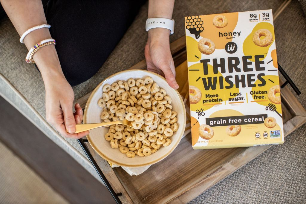 Close up on Three Wishes cereal in post about best gluten-free products