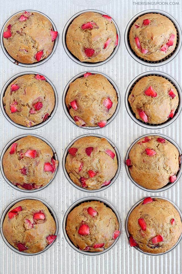 Gluten-Free Strawberry Banana Muffins by The Rising Spoon
