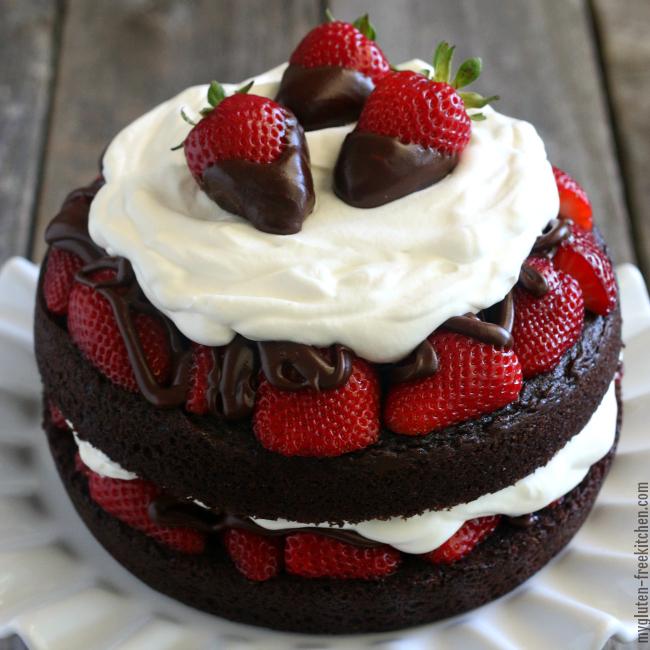 Gluten-Free Strawberry Chocolate Layer Cake by My Gluten-Free Kitchen (Michelle)