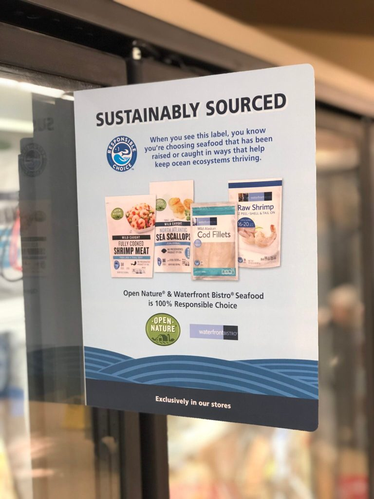 Picture of a sign inside Safeway that says Sustainably Sourced. It discusses what the Open Nature brand stands for and why it's a responsible seafood choice.