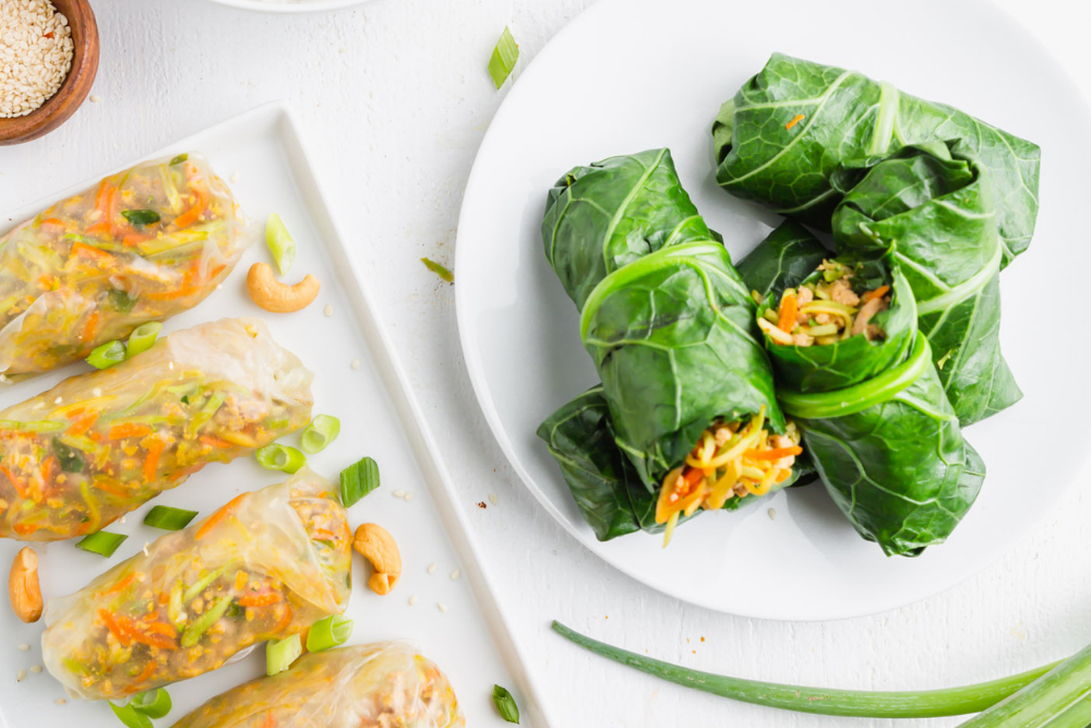 Flavorful Egg Roll Filling Inside Rice Paper Wrappers or Over Rice