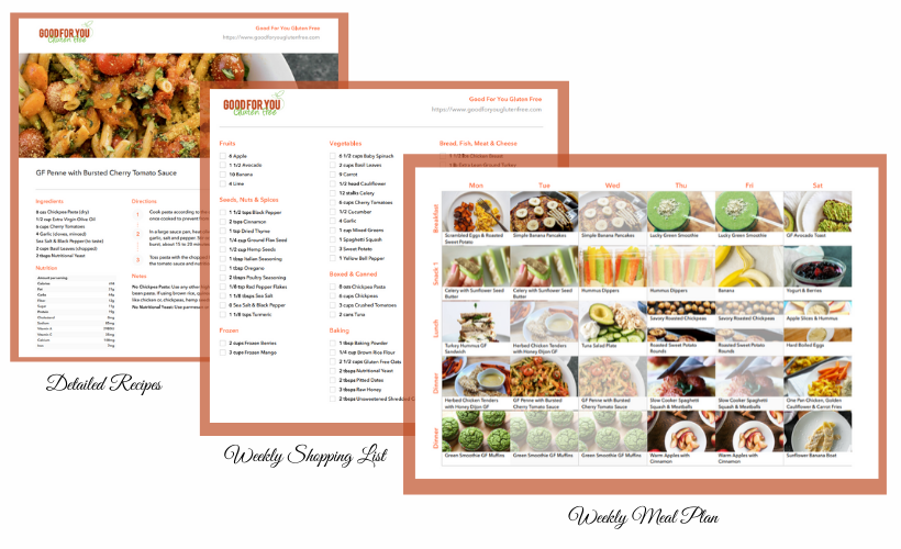 Image of a sample meal plan, grocery shopping list and recipe included in my meal planning service.
