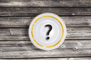 image of a plate with a question mark on it