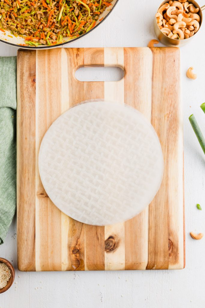 Picture of rice wrappers on cutting board