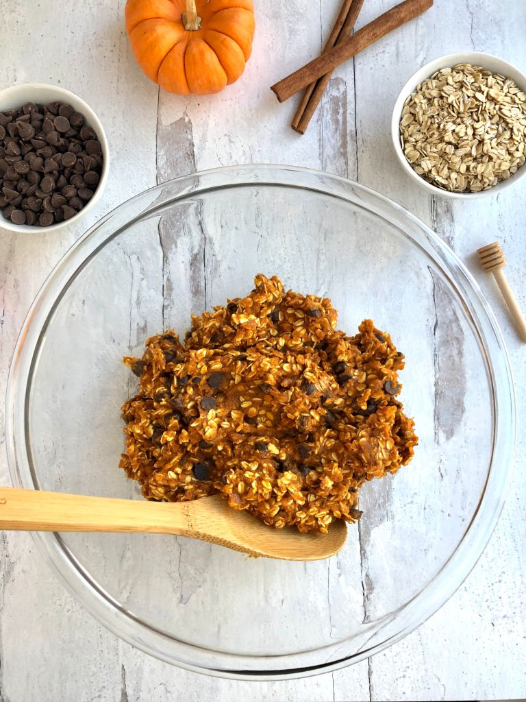 Pumpkin, oats, honey, cinnamon and chocolate chips mixed together in a bowl