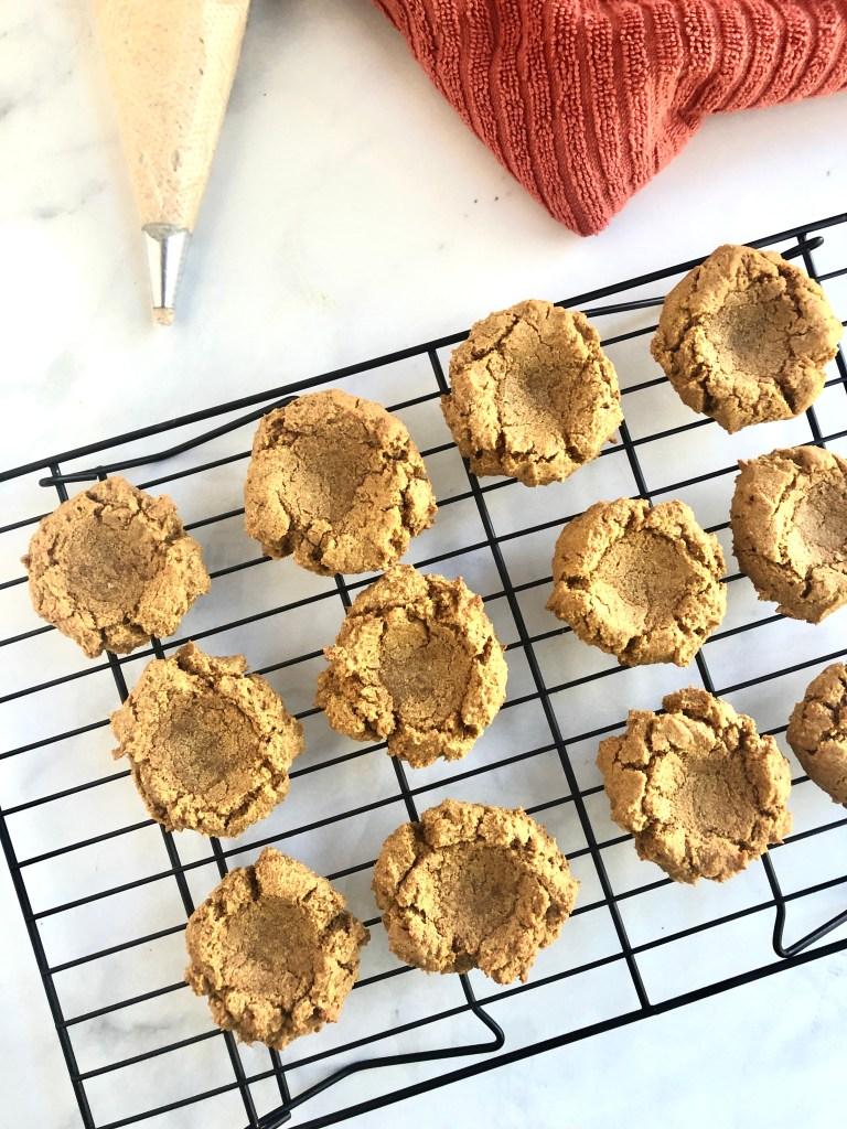 Cassava flour pumpkin cookies cooling on a wire rack