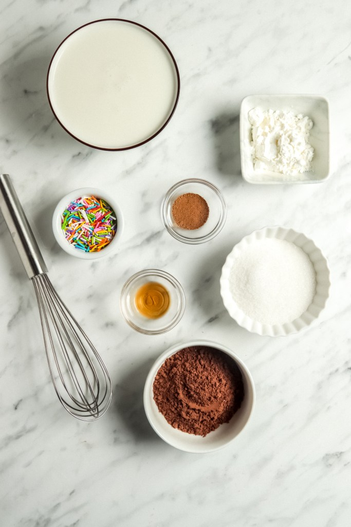 Overhead picture of ingredients used for microwave pudding recipe