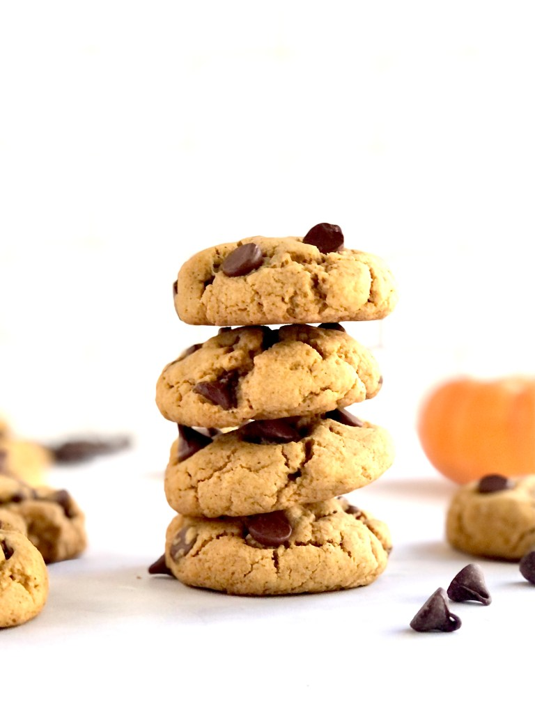 Stack of 4 chocolate chip pumpkin cookies