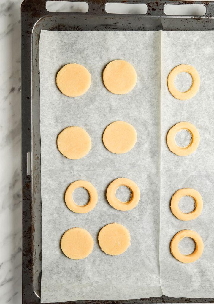 round cookies on baking sheet
