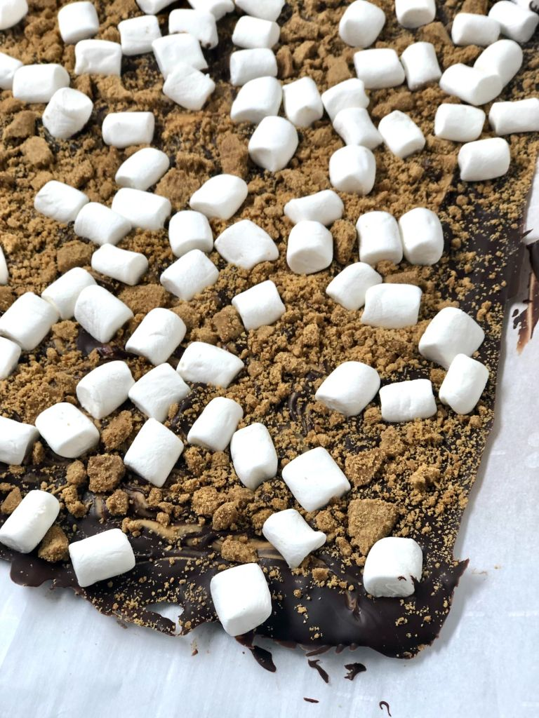 Chocolate s'mores bark after it has chilled