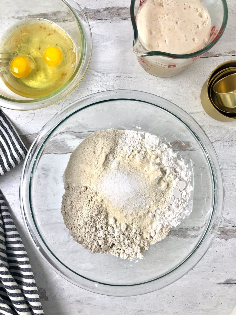 Picture of all the gluten-free challah ingredients in bowls