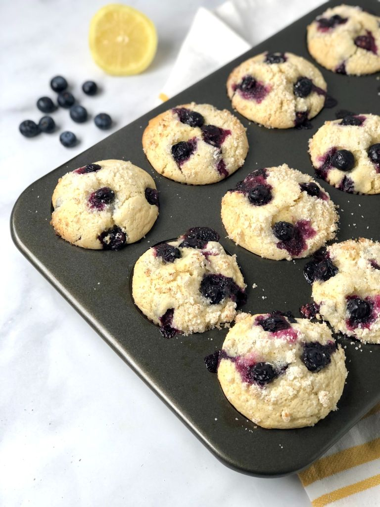 Picture of gluten-free blueberry muffins in a muffin baking pan