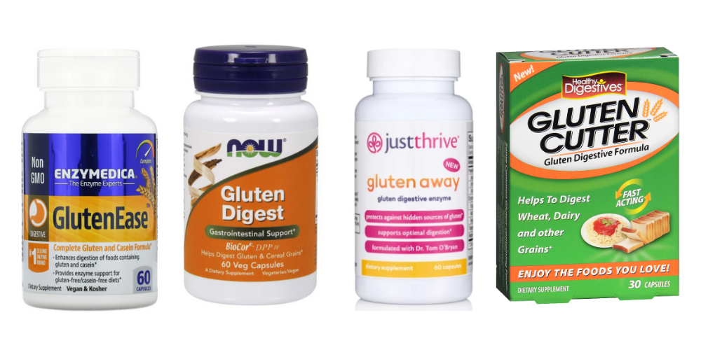 Pictures of various gluten digestive enzyme brands
