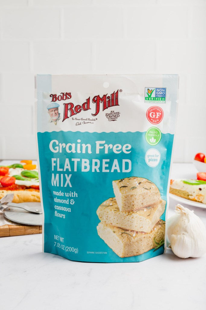 close up picture of grain-free flatbread mix by Bob's Red Mill