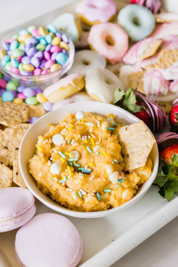 Upclose on the edible cookie dough hummus dip with sprinkles on top