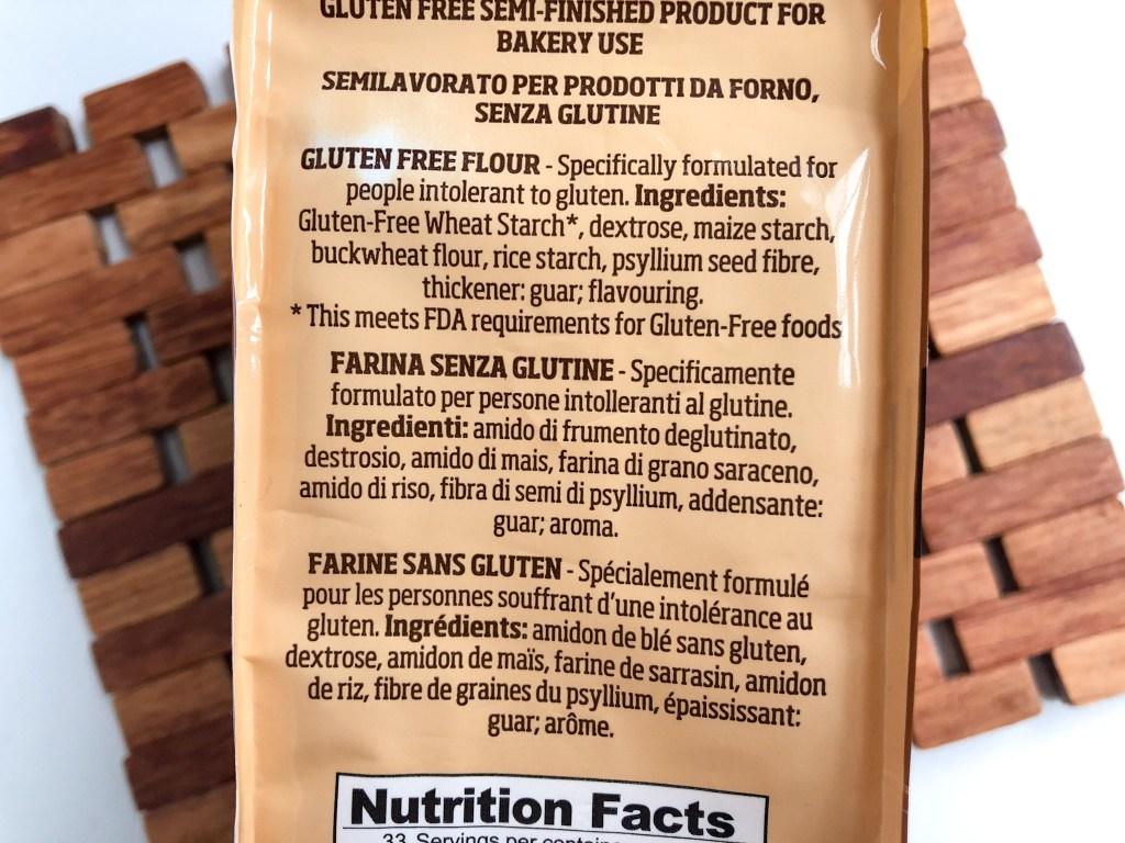 Picture of Caputo gluten-free flour ingredient label