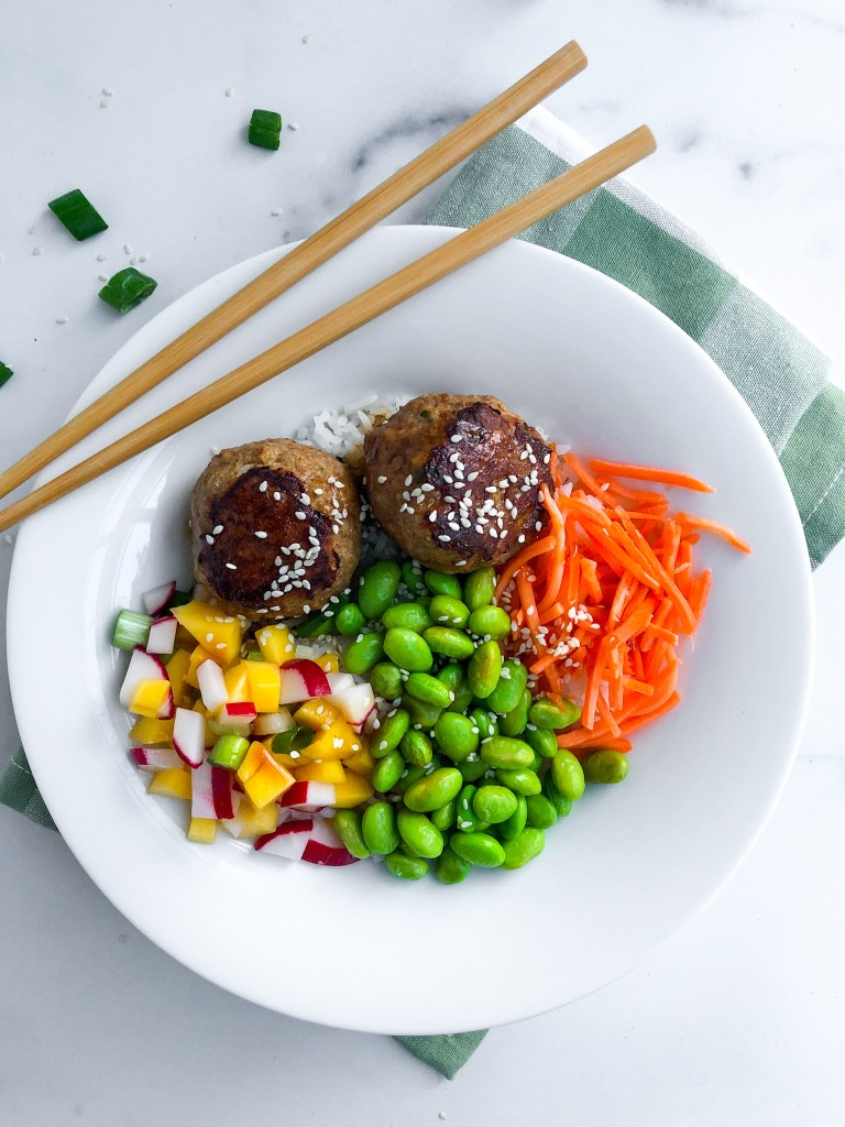 Picture of Asian Meatball Bowl with mango-radish salsa and other toppings