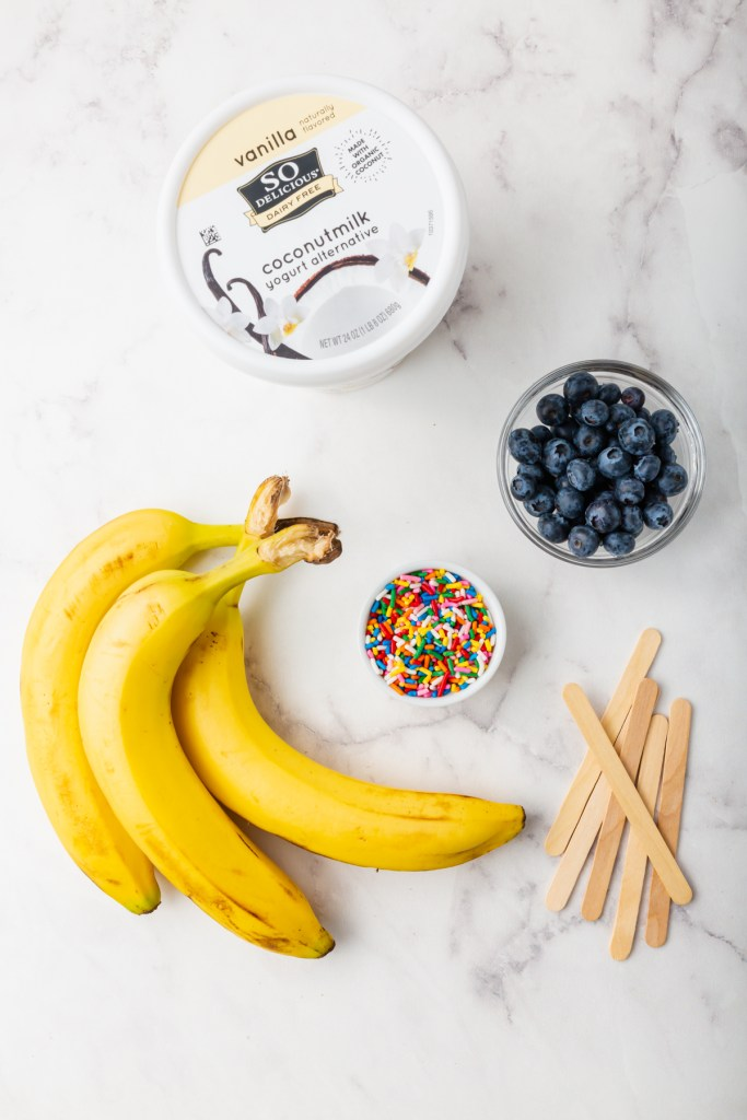 Picture of So Delicious yogurt, bananas, blueberries, rainbow sprinkles and popsicle sticks