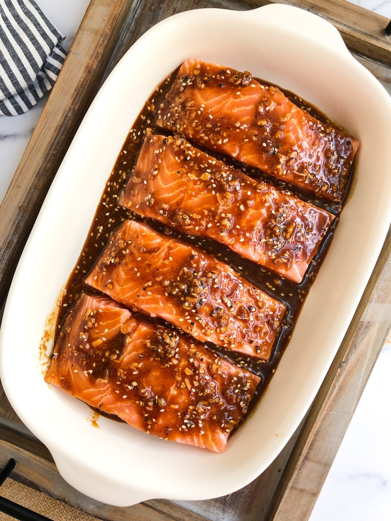 Salmon marinating in the asian sauce