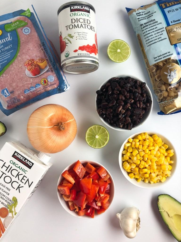 Ingredients for taco pasta skillet