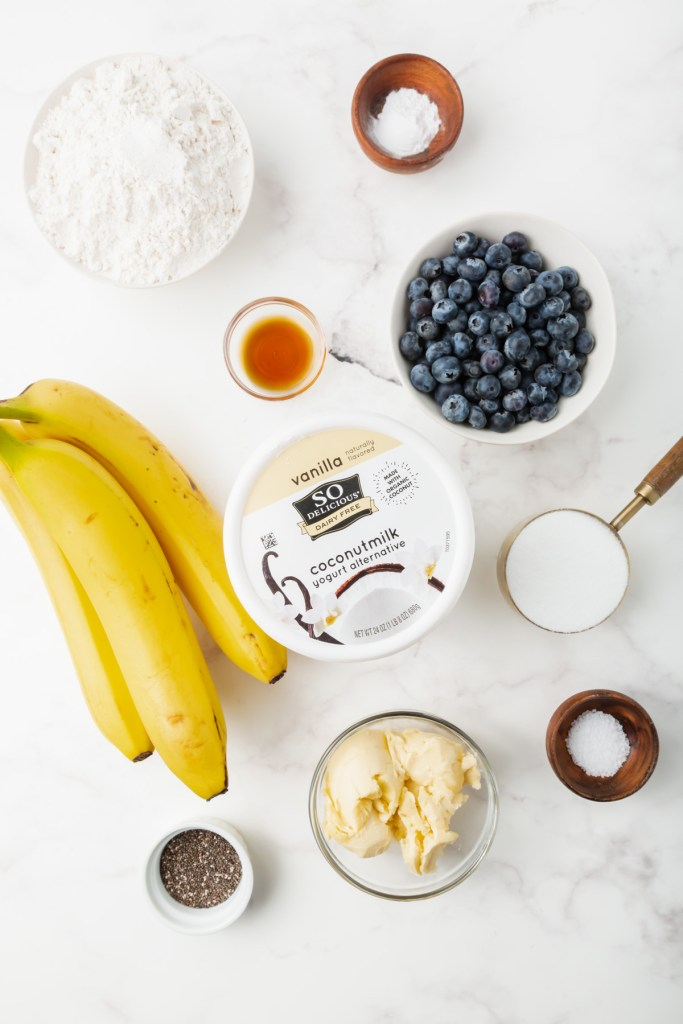 ingredients for the blueberry banana bread recipe