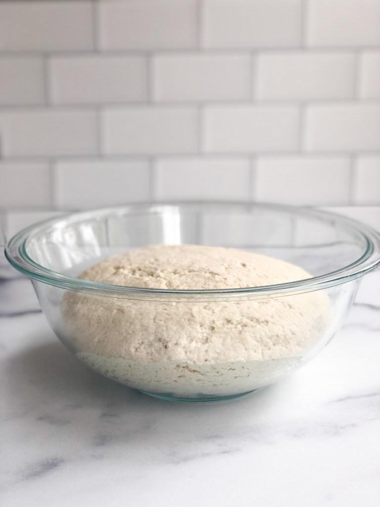 gluten-free sourdough bread after it has risen for 4 hours