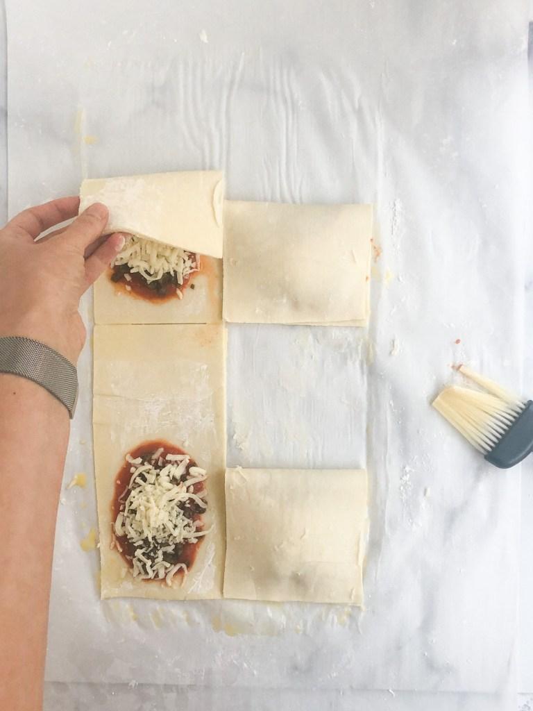folding hot pockets prior to baking