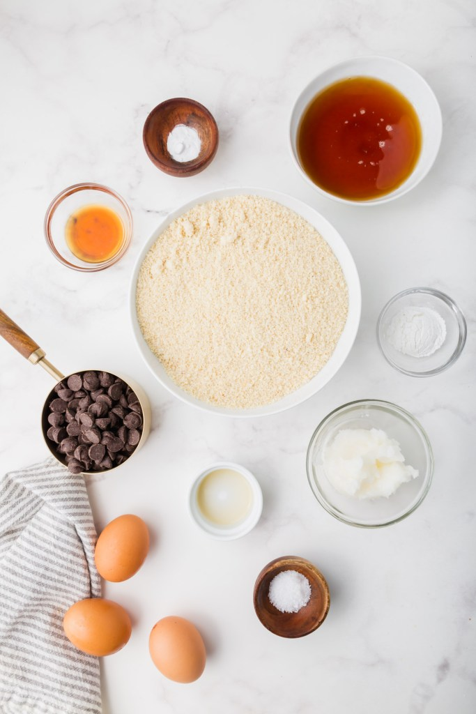 ingredients for almond flour chocolate chip muffins