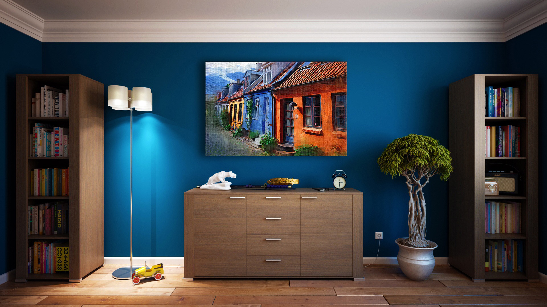 Room with painting on the wall image - Free stock photo ... on Room Painting id=24404