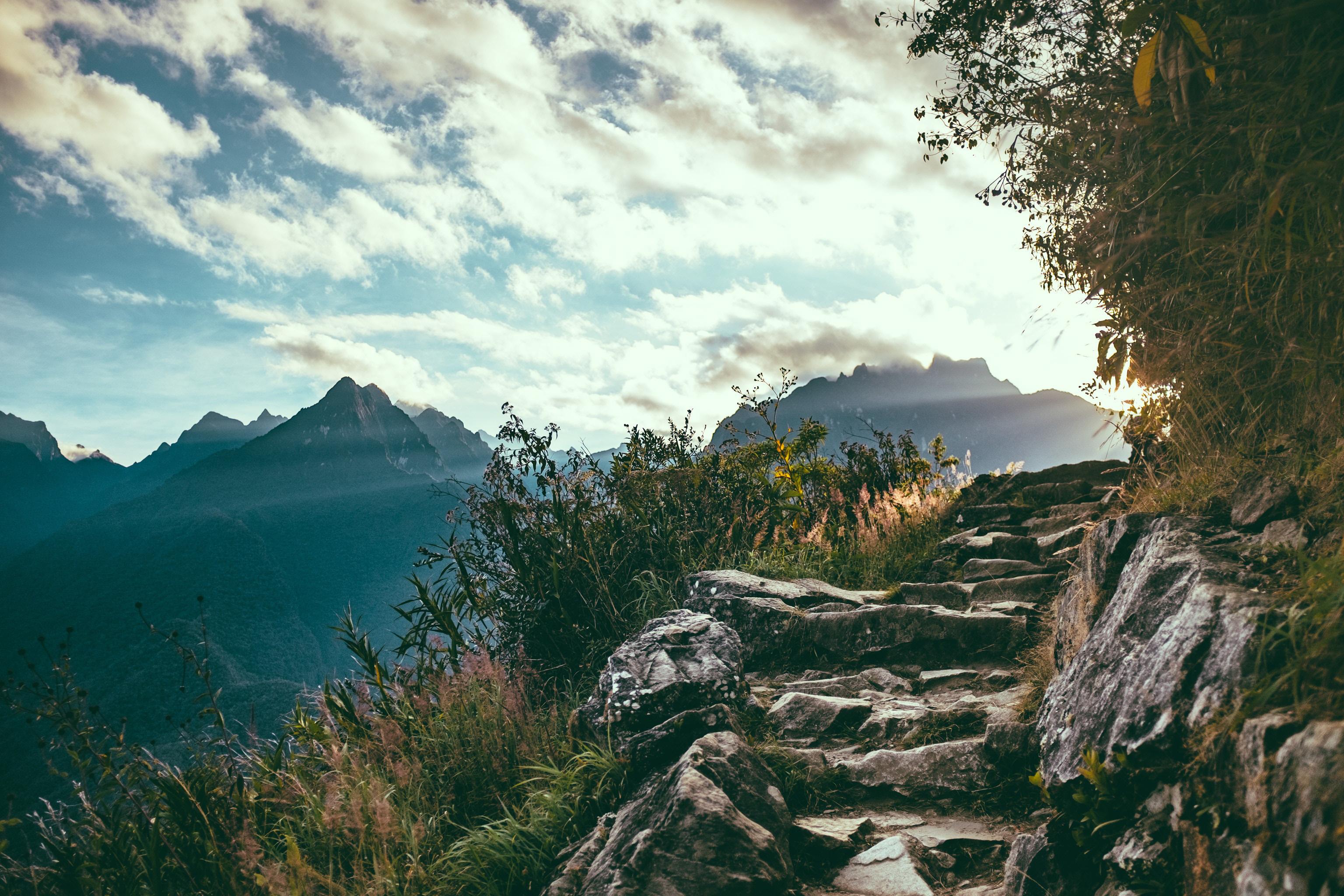 Landscape With Steps At Machu Picchu Peru Image