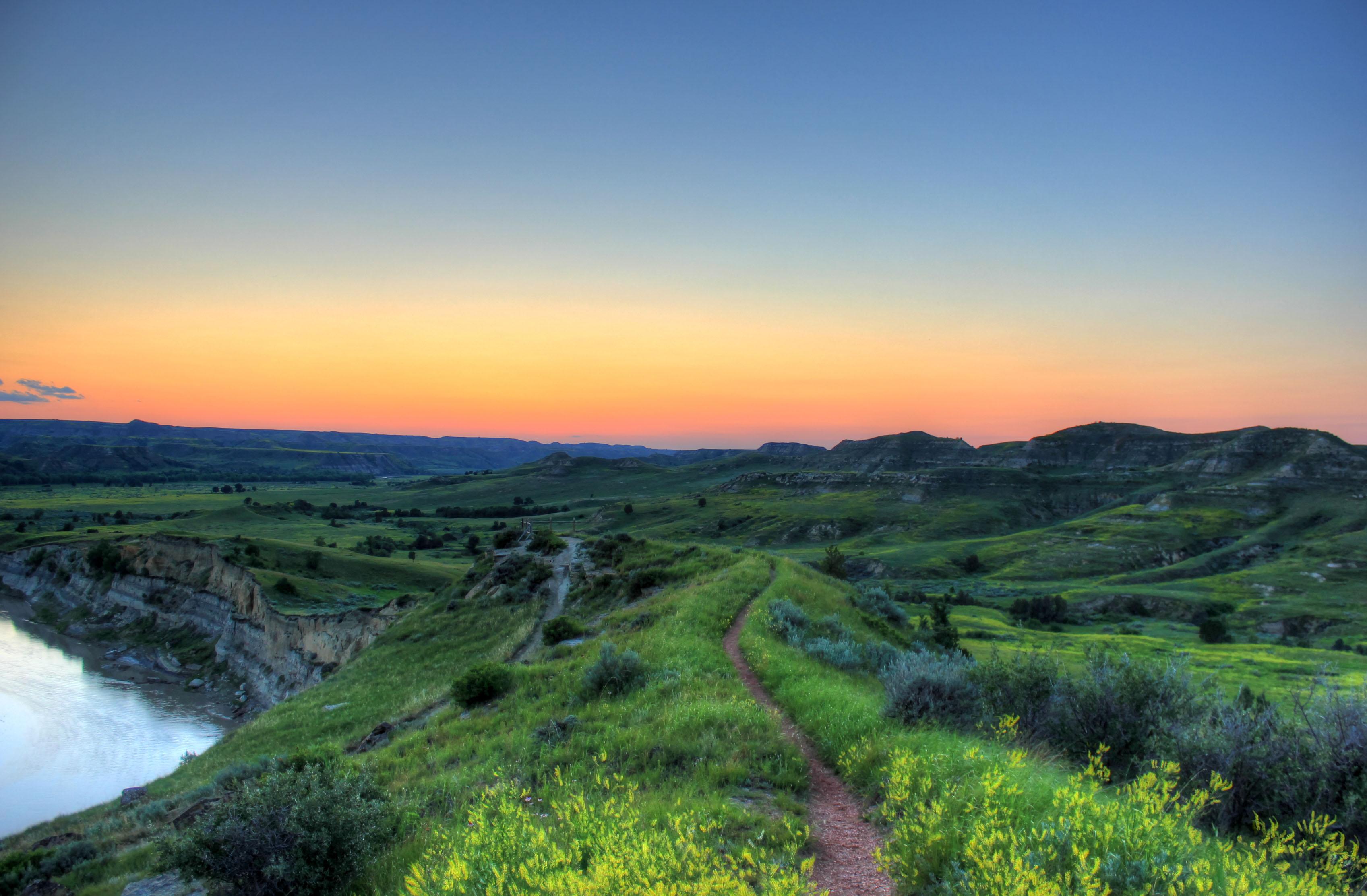 Dusk Over Hills And Grassland At Theodore Roosevelt