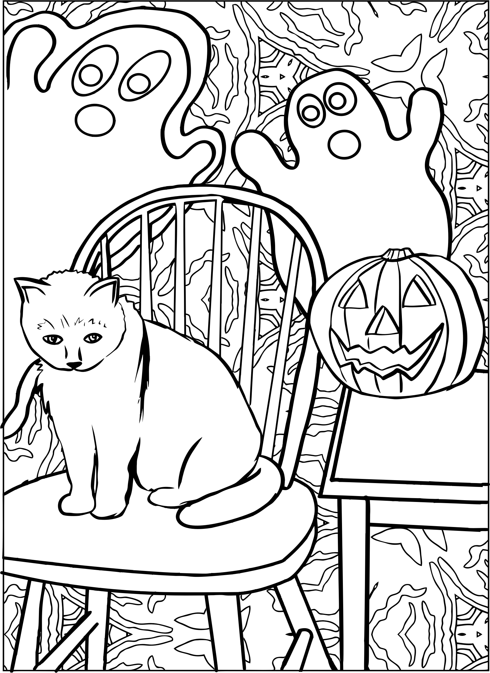 Halloween Cat Line Art With Ghost And Jack O Lanterns Vector Clipart Image