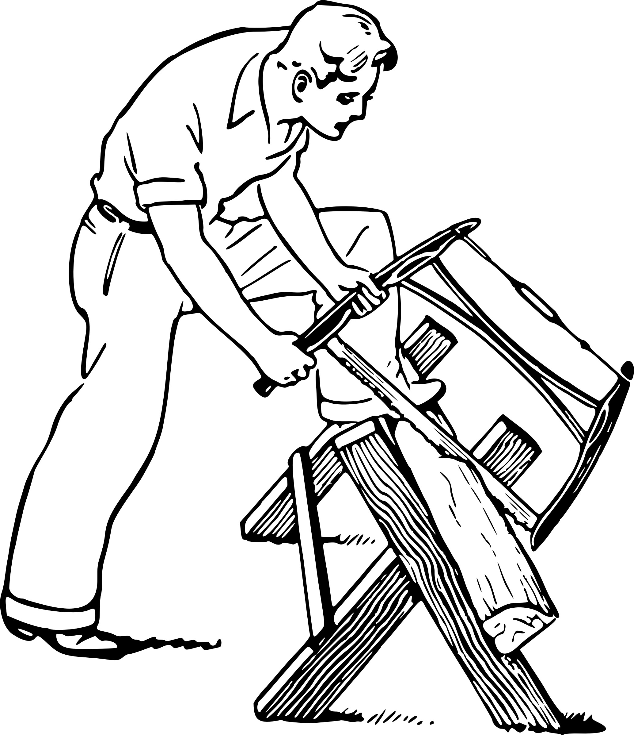 Man Sawing Wood Vector Clipart Image