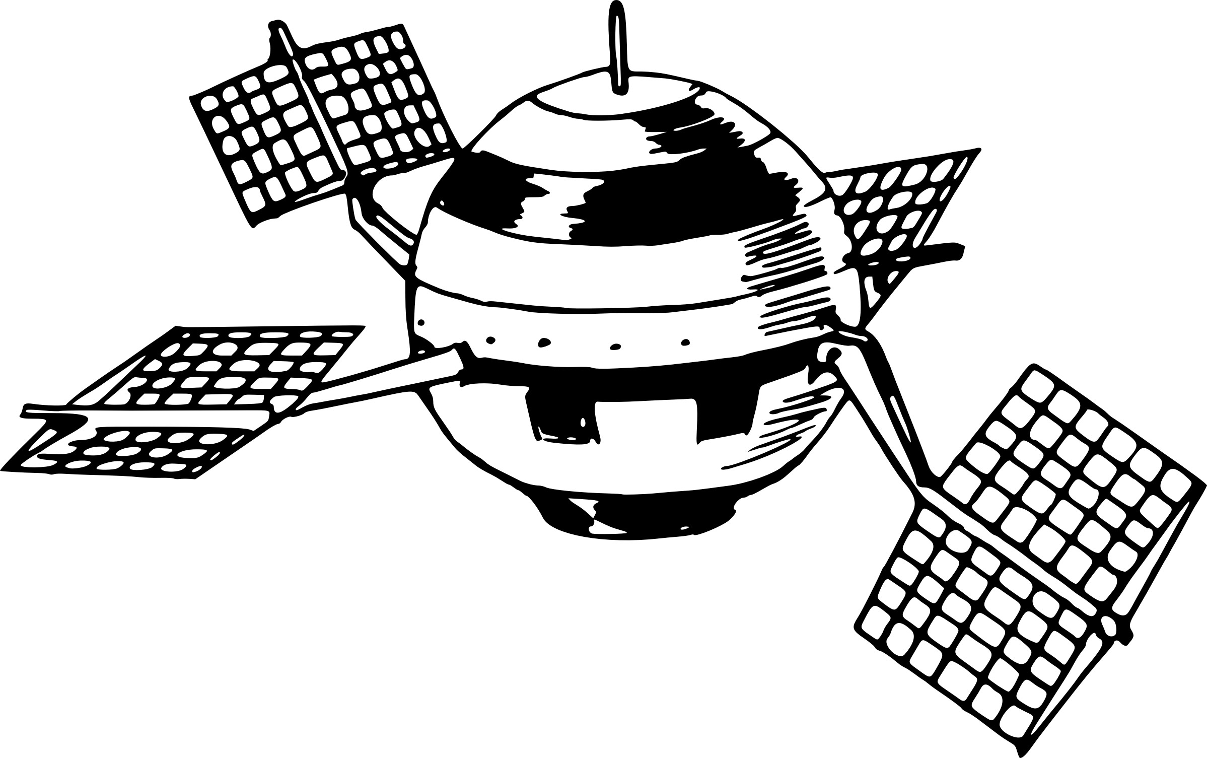 Satellite With Solar Panels Vector Clipart Image