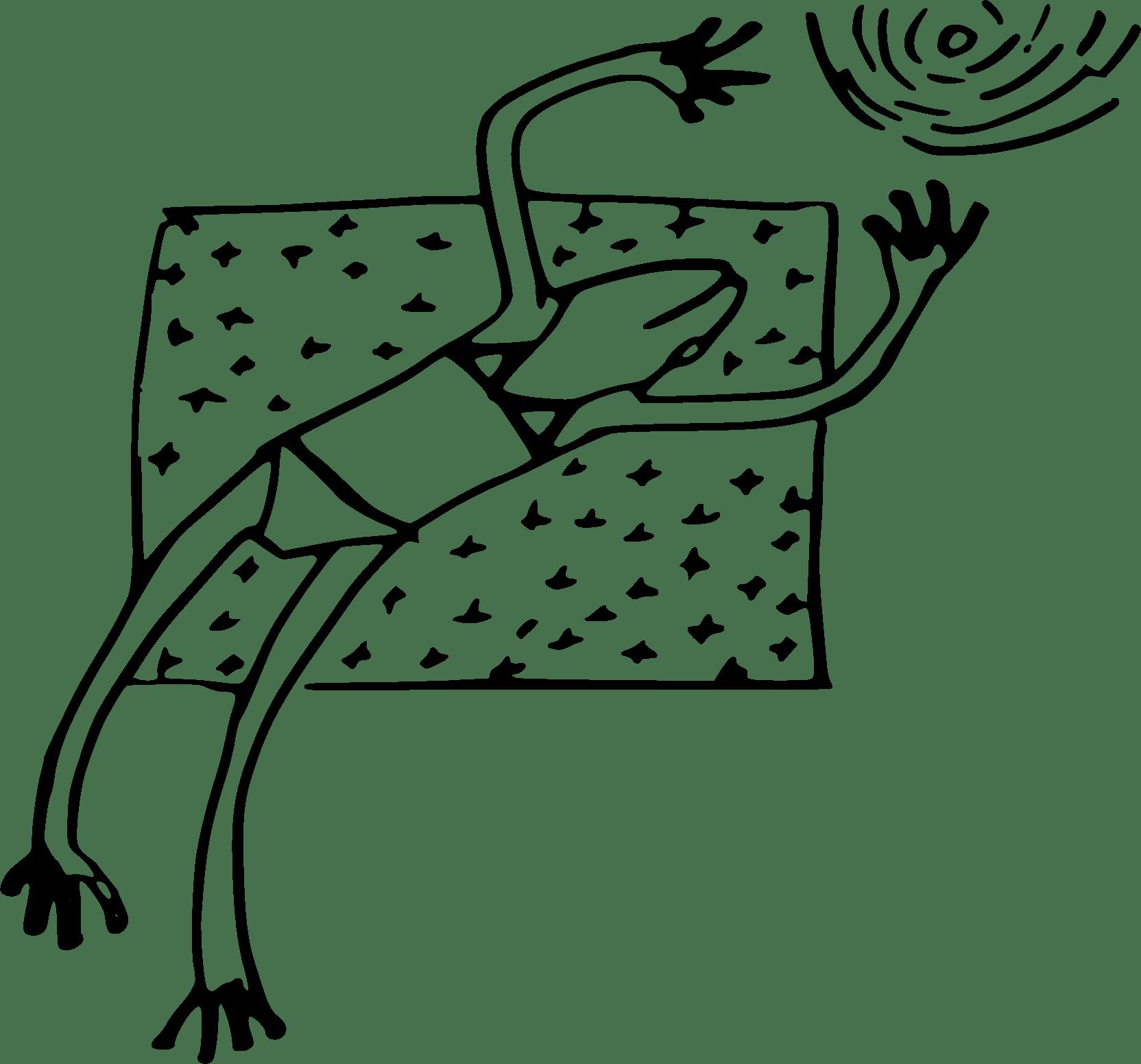 Sunbathing Frog Vector Clipart Image