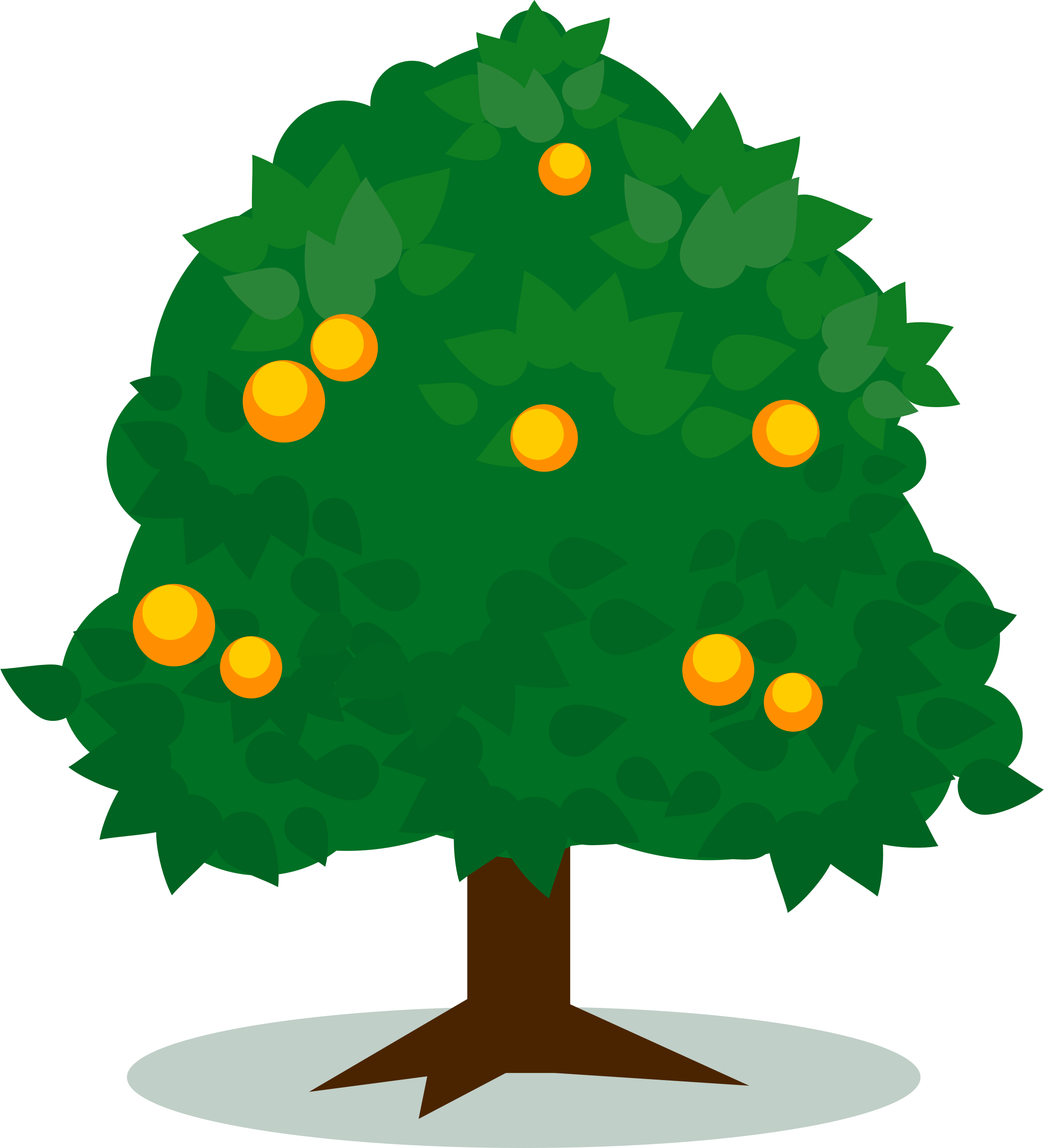 Tree With Fruits Vector Art Image