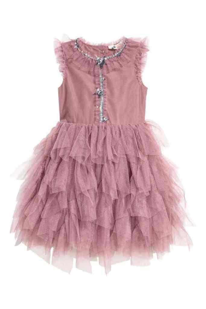 blush roze Tulen jurk met pailletten-HM-GoodGirlsCompany