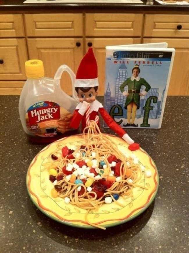 spagetti bord met snoep